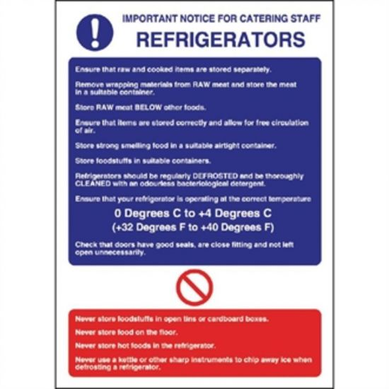 Vogue Refrigerator Guidelines Sign URO W196