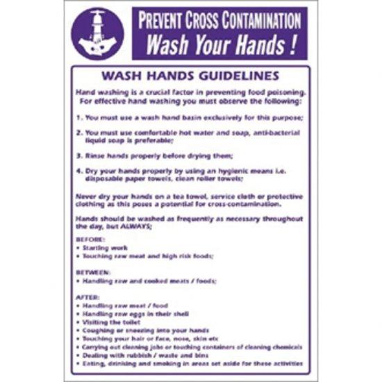 Vogue Prevent Cross Contamination Wash Hands Sign URO Y909