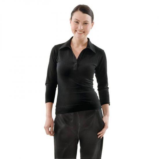 Uniform Works Womens V-Neck T-Shirt Black L URO B038-L