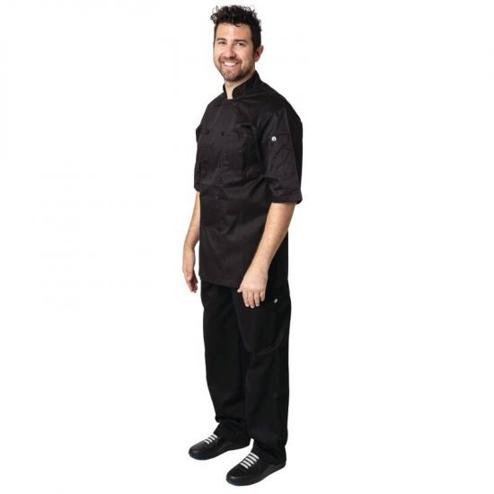 Chef Works Montreal Cool Vent Unisex Chefs Jacket Black L URO B054-L
