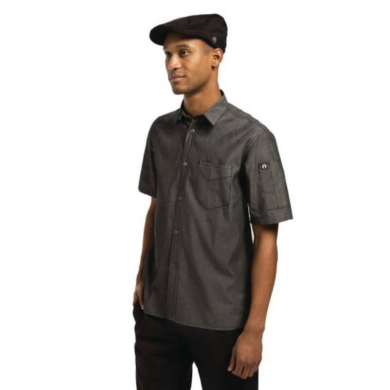 Chef Works Unisex Detroit Denim Short Sleeve Shirt Black L URO B075-L