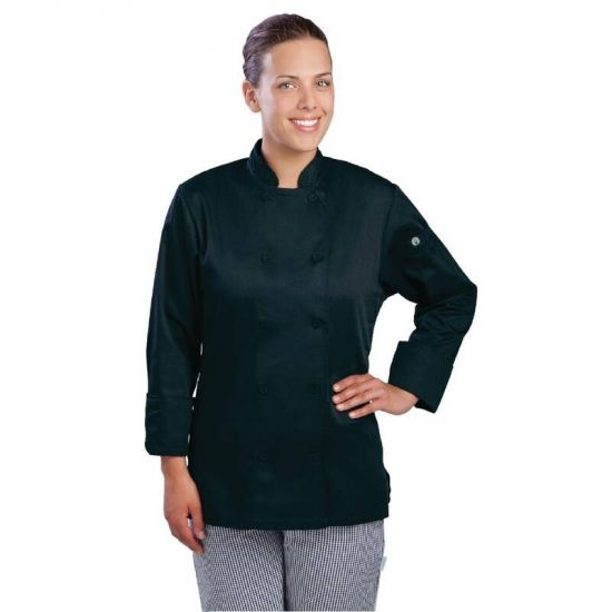 Chef Works Marbella Womens Executive Chefs Jacket Black XL URO B137-XL