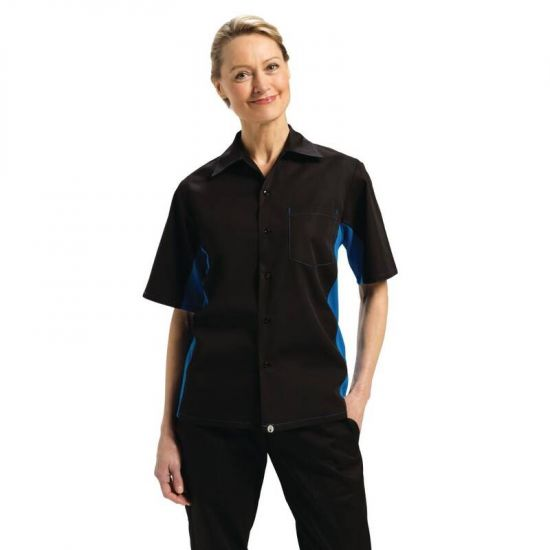 Colour By Chef Works Unisex Contrast Black And Blue Shirt XL URO B175-XL