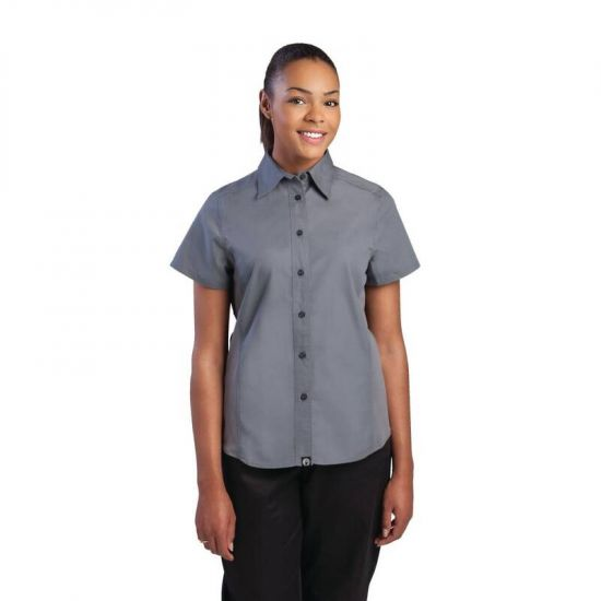 Chef Works Womens Cool Vent Chefs Shirt Grey S URO B182-S