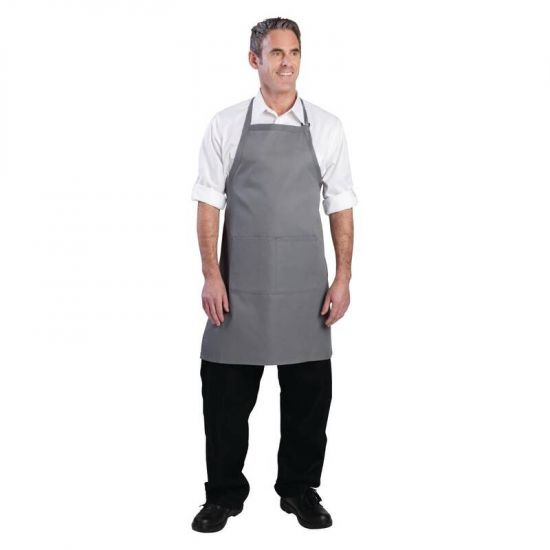 Colour By Chef Works Bib Apron Grey URO B192
