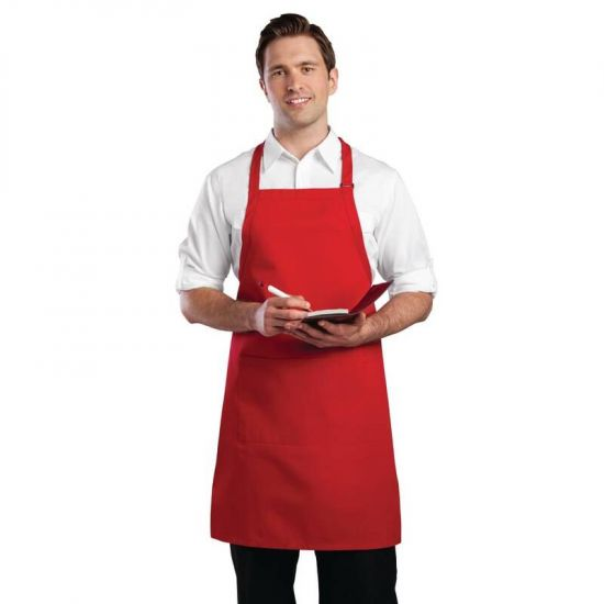 Colour By Chef Works Bib Apron Red URO B196