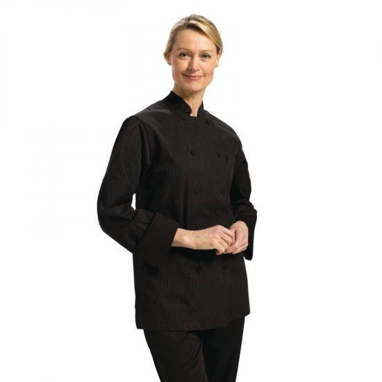 Chefs Works Carlisle Executive Unisex Chefs Jacket Black Pinstripe L URO B227-L