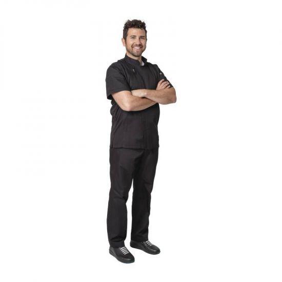 Chef Works Springfield Zipper Mens Chefs Jacket Black XL URO B472-XL