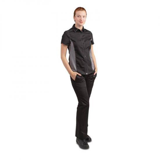Chef Works Womens Universal Contrast Shirt Black Grey L URO B673-L