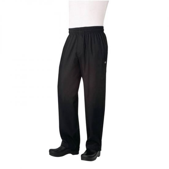 Chef Works Unisex Basic Baggy Zip Fly Chefs Trousers Black XL URO B698-XL