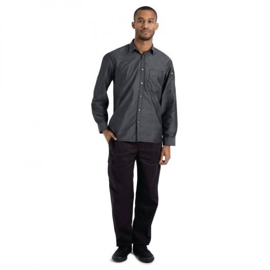 Chef Works Urban Detroit Long Sleeve Denim Shirt Black M URO B775-M