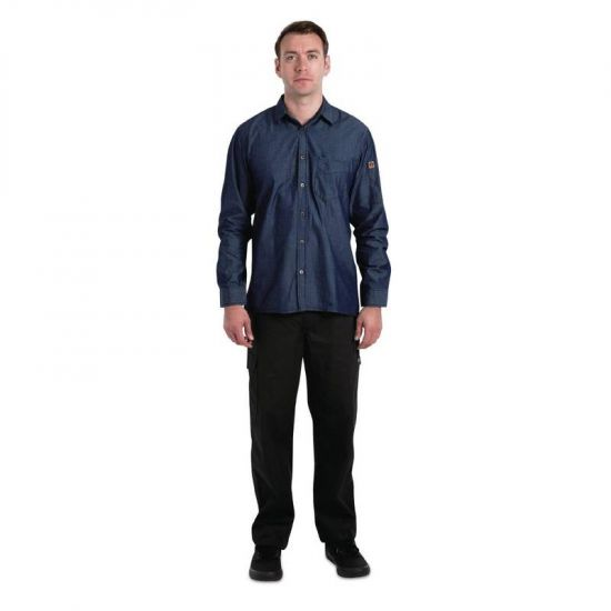 Chef Works Urban Detroit Long Sleeve Denim Shirt Blue M URO B776-M