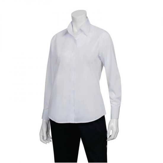Uniform Works Womens Long Sleeve Dress Shirt White S URO B874-S