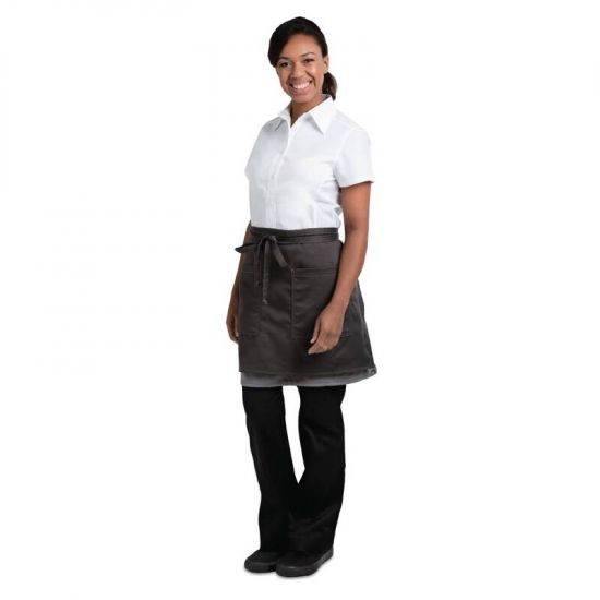 Chef Works Soho Wide Half Bistro Apron With Colour Block Charcoal Grey URO B955