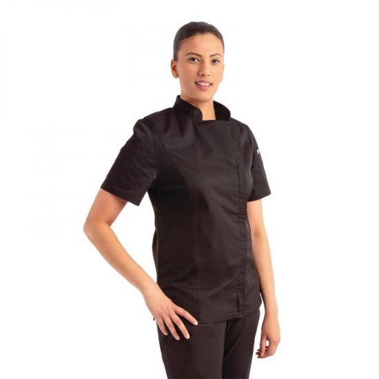 Chef Works Womens Springfield Zip Chefs Jacket Black L URO BB051-L