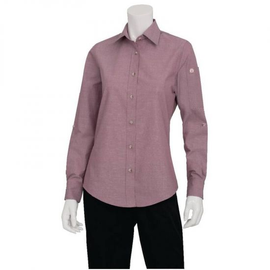 Chef Works Womens Chambray Long Sleeve Shirt Dusty Rose S URO BB071-S