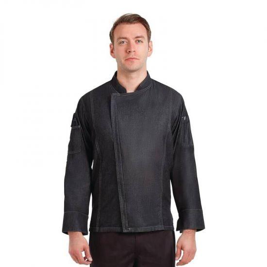 Chef Works Urban Gramercy Unisex Denim Chef Jacket Black L URO BB079-L