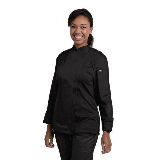 Chef Works Hartford Lightweight Zip Womens Chef Jacket Black S URO BB090-S