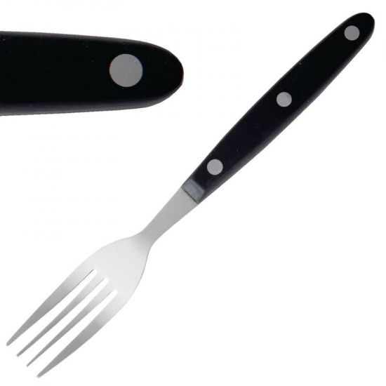 Steak Fork Black Handle 200mm Box of 12 URO C135