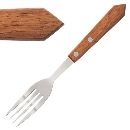 Steak Fork Wooden Handle 190mm Box of 12 URO C137