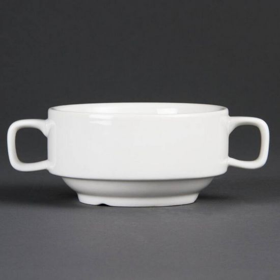 Olympia Whiteware Soup Bowls With Handles 400ml 14oz Box of 6 URO C239