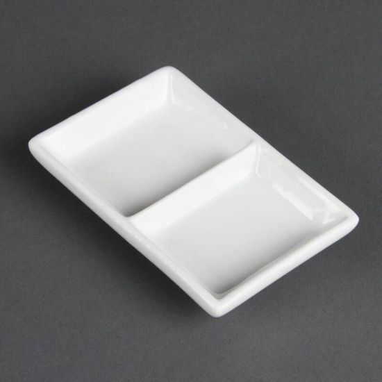 Olympia Whiteware 2 Section Dishes Box of 12 URO C335