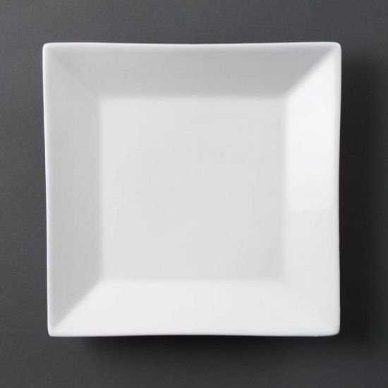 Olympia Whiteware Square Plates Wide Rim 250mm Box of 6 URO C360