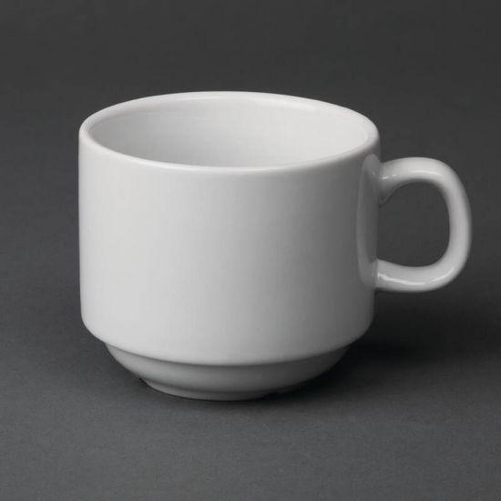Olympia Whiteware Stacking Tea Cups 200ml 7oz Box of 12 URO CB467