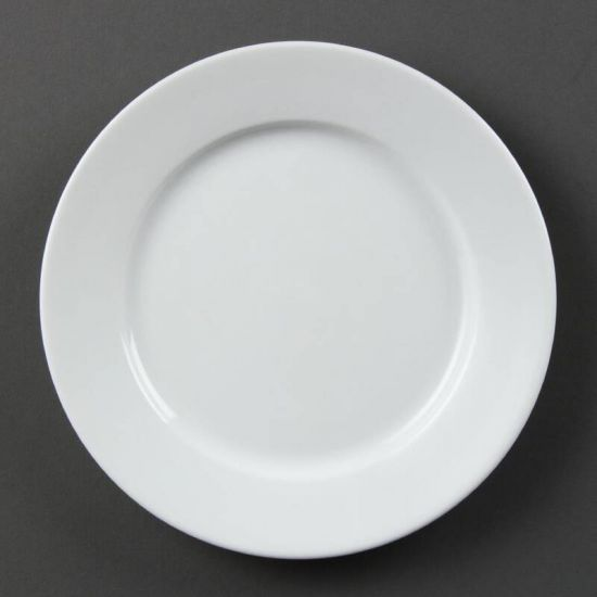 Olympia Whiteware Wide Rimmed Plates 202mm Box of 12 URO CB479