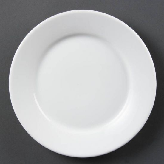 Olympia Whiteware Wide Rimmed Plates 230mm Box of 12 URO CB480