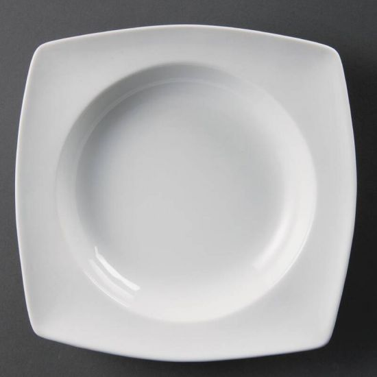 Olympia Whiteware Rounded Square Bowls Circular Well 210mm Box of 4 URO CB690