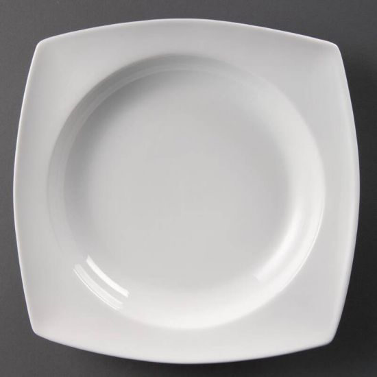 Olympia Whiteware Rounded Square Bowls Circular Well 250mm Box of 4 URO CB691