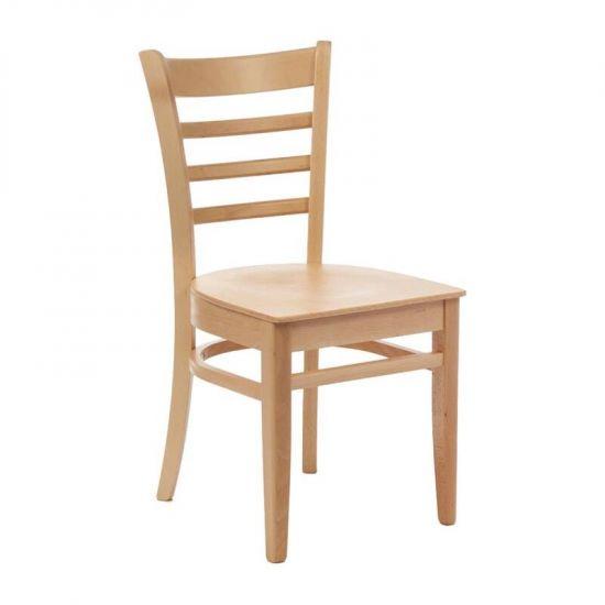 Bolero Wooden Side Chairs Natural Beech Finish Horizontal Slats (Pack Of 2) URO CD184-PL