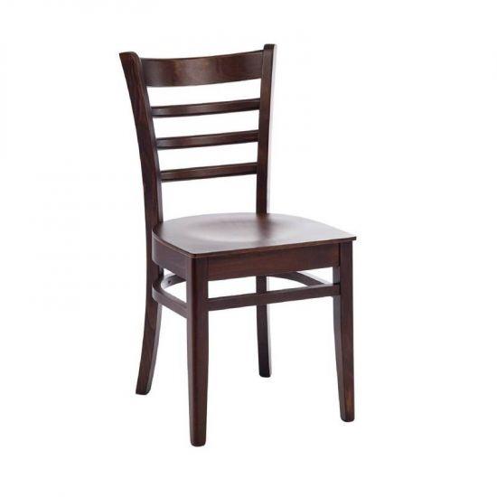 Bolero Wooden Side Chairs Walnut Finish Horizontal Slats (Pack Of 2) URO CD186-PL