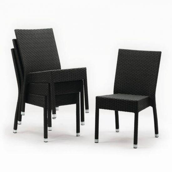 Bolero Wicker Side Chairs Charcoal (Pack Of 4) URO CF159