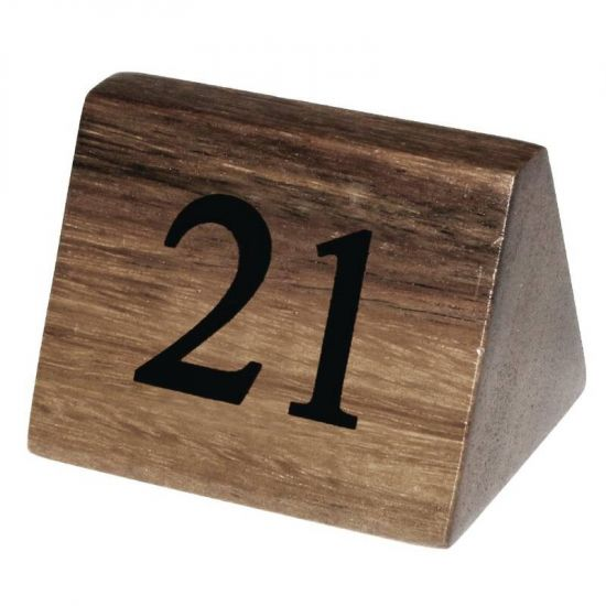 Wooden Table Number Signs Nos 21-30 Box of 10 URO CL298