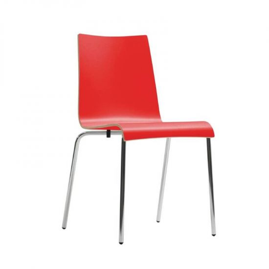 Bolero Plyform Stacking Sidechair Red (Pack Of 4) URO CP755