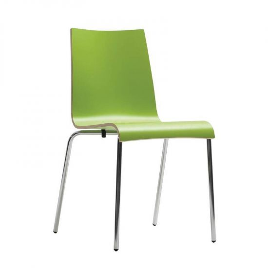 Bolero Plyform Stacking Sidechair Lime Green (Pack Of 4) URO CP757