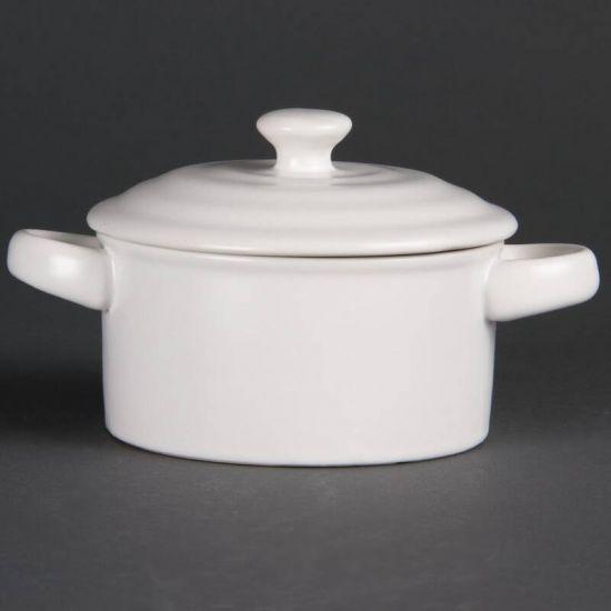 Olympia Mini Round Pots White 227ml 8oz Box of 4 URO DK817