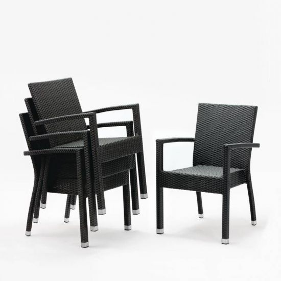 Bolero Wicker Armchairs Charcoal (Pack Of 4) URO DL477