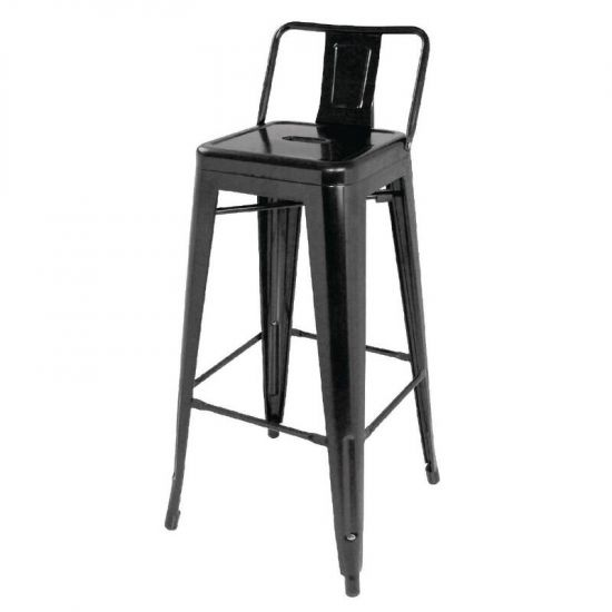 Bolero Steel Bistro High Stools With Back Rest Black (Pack Of 4) URO DL882