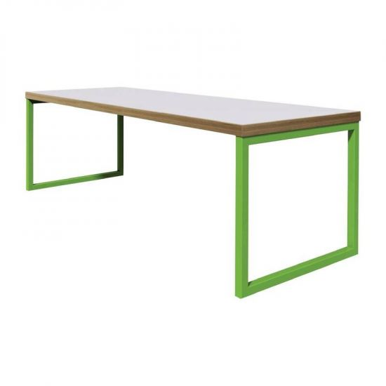 Bolero Dining Table White With Green Frame 6ft URO DM651