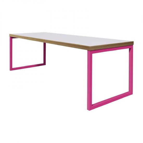 Bolero Dining Table White With Pink Frame 4ft URO DM656