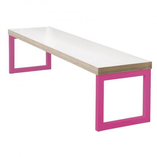 Bolero Dining Bench White With Pink Frame 3ft URO DM659