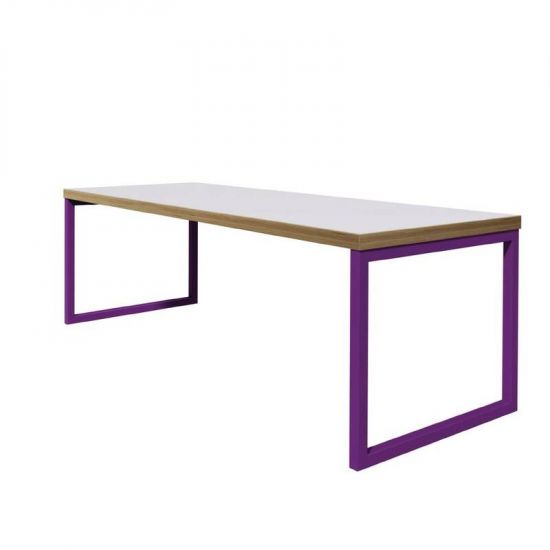 Bolero Dining Table White With Violet Frame 4ft URO DM662