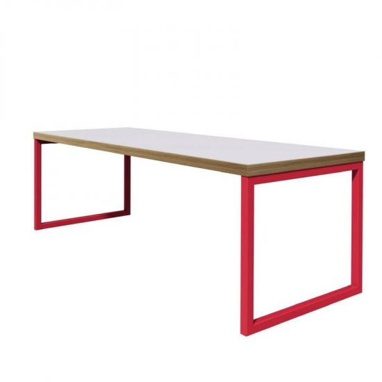 Bolero Dining Table White With Red Frame 4ft URO DM668