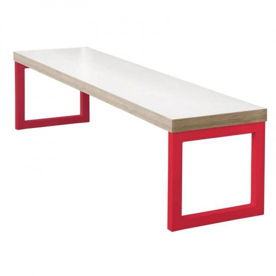 Bolero Dining Bench White With Red Frame 3ft URO DM671