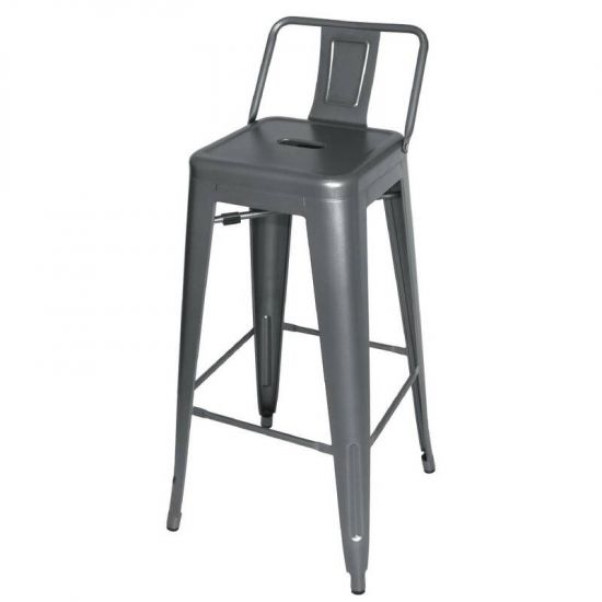 Steel Bistro High Stool With Back Rest (Pack Of 4) URO DM935