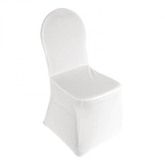 Bolero Banquet Chair Cover White URO DP924