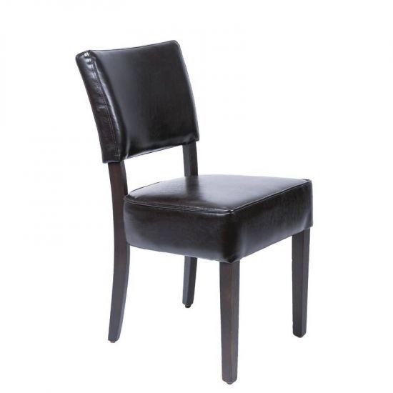 Bolero Chunky Faux Leather Chairs Dark Brown (Pack Of 2) URO GF957